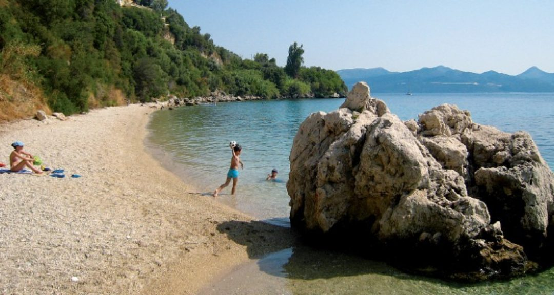 Lefkada beaches Pasa beach kids playing