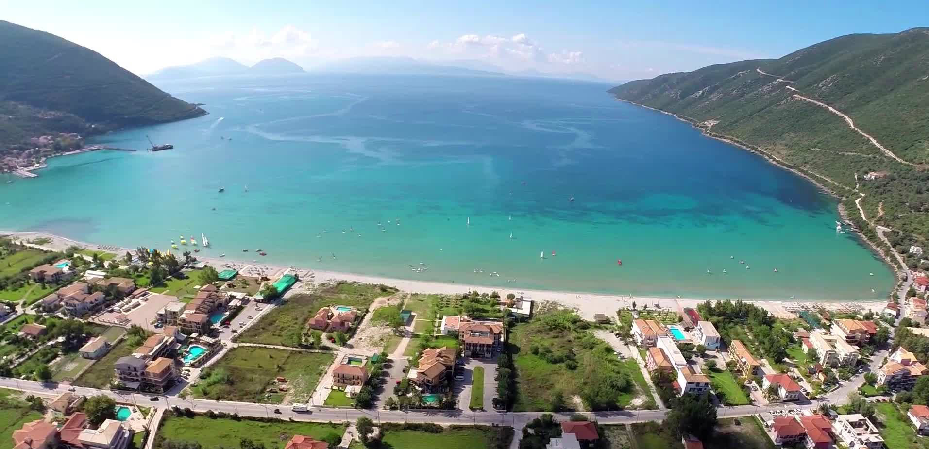 Lefkada beaches Vassiliki beach from above